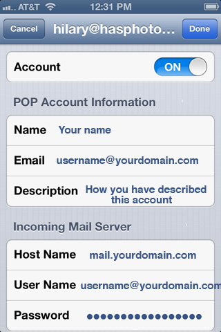 How to setup email in iphone send pics via