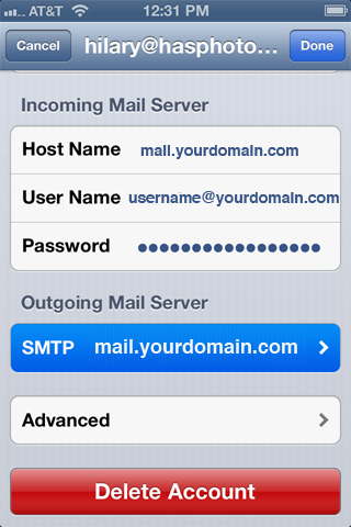 step four now you will see a list of outgoing servers that have been configured on your iphone or ipad select your email domain