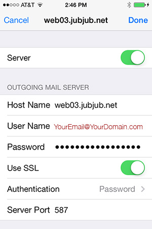 iPhone OUTGOING Server Settings for WEb03 Hosted Email Accounts
