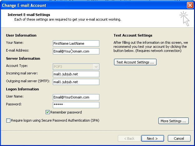 New Email Account Settings for Windows hosted accounts