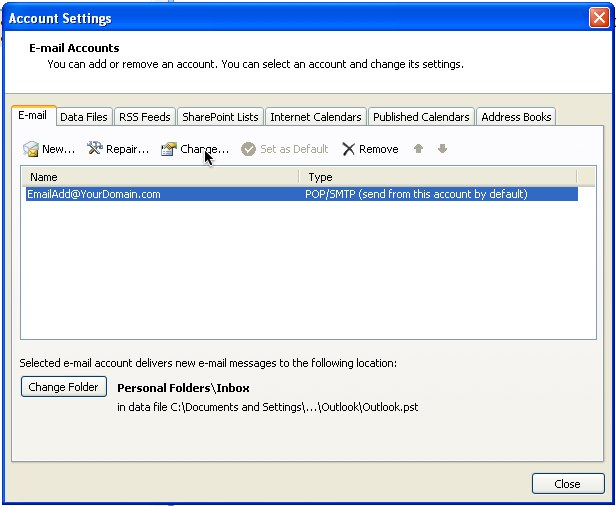 how to change the way outlook opens