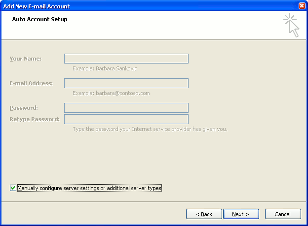 Auto Account Set up Screen - Hit Manual
