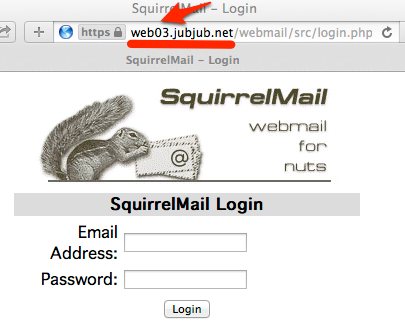 Squirrel Mail Screenshot showing URL resolving to Web03 address